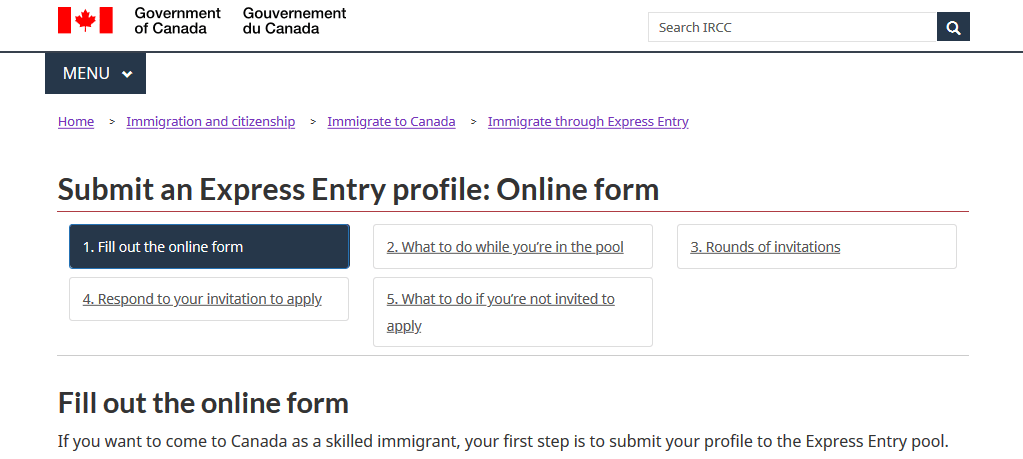 Express Entry Profile application submission